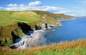 The South West Coast Path along English Channel cliff coast between Bolt Head and Bolt Tail near Salcombe, Devon, England