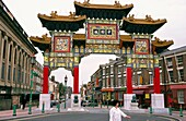 Liverpool, Merseyside, England Traditional Chinese entrance gate to the Chinese Quarter community on Nelson Street