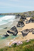 Sea stacks, cliffs and beach at Bedruthan Steps on the South West Coast Path between Padstow and Newquay, Cornwall, England
