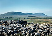 Yorkshire Dales National Park, England Over karst limestone pavement at Ribblehead toward limestone massif of Ingleborough