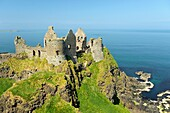 Dunluce Castle, mediaeval ruin between Portrush and Bushmills on North Antrim Coast Road, County Antrim, Northern Ireland