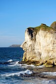 The Giants Head limestone cliff landmark at the White Rocks near Portrush, Northern Ireland Looking east to the Giants Causeway headlands