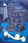 View from the Observation Deck, At The Top of Burj Khalifa, Burj Chalifa towards Downtown Dubai, The Address Hotel, Dubai, United Arab Emirates, UAE
