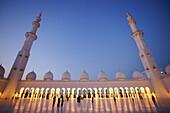 Sheikh Zayed Grand Mosque, View of two minarets, Abu Dhabi, United Arab Emirates, UAE