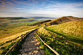 Mam Tor and view over Edale Valley, Peak District National Park, Derbyshire, UK - England