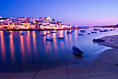 View to coastal village at night, Ferragudo, Algarve, Portugal