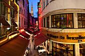 Rue des Bouchers - restaurants at night, Brussels, Flanders, Belgium