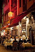 Rue Gretrey - restaurants at night, Brussels, Flanders, Belgium