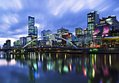 Central Business District from Yarra River at dusk, Melbourne, Victoria, Australia