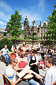 Town Hall and cafe in Millennium Square, Sheffield, Yorkshire, UK - England