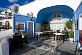 Restaurant terrace, Fira, Santorini Island, Greek Islands