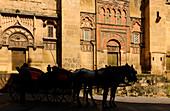 Kutsche vor der Kathedrale, Mezquita-Catedral, Cordoba, Provinz Cordoba, Andalusien, Spanien, Mediterrane Länder