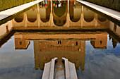 Die Alhambra von Granada, Spiegelung im Wasser, Granada, Alhambra, Andalusien, Spanien, Mediterrane Länder