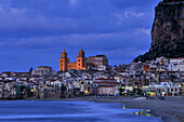 Cityscape with cathedral in the evening, Cefalu, Sicily, Italy