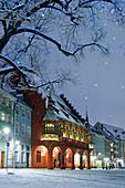 Historical department store in winter, old town, Freiburg im Breisgau, Black Forest, Baden-Wurttemberg, Germany