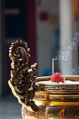 Burning incense sticks in a Chinese Temple, Petaling Street, Kuala Lumpur, Malaysia, Asia