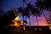 Traditional Malay house in the evening, Bon Ton Resort, Lankawi Island, Malaysia, Asia