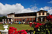 Open house, people on the lawn in front of the presidential palace, Mauritius, Africa