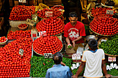 People at stalls in the market hall, Port Louis, Mauritius, Africa