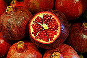 Close up of pomegranates, Market hall, Port Louis, Mauritius, Africa
