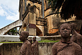Monument to Slavery by Clara Soenaes at the historical site of the slave market near the Anglican Cathedral, Stonetown, Zanzibar City, Zanzibar, Tanzania, Africa