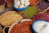 Rice and pulses at Darajani Market, Stonetown, Zanzibar City, Zanzibar, Tanzania, Africa