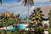 The Sau Inn hotel with pool in the sunlight, Jambiani, Zanzibar, Tanzania, Africa