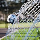 Soccer Ball in Goal Netting, Tukwila, Washington, USA