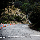 Road Construction on Isolated Road, Los Angeles, California, USA