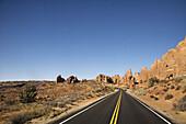 Road Through Desert, Arches National Park, near Moab, UT, U.S.