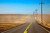Highway through Farmland, Oregon, USA