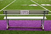 Sign on Athletic Field Bench, Seattle, Washington, USA