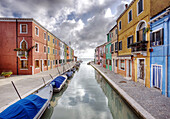 Colorful Buildings and Boats Lining a Canal, Venice, Italy