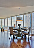 Dining Table and Chairs with City View, Bellevue, Washington, USA