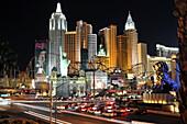 Hotel New York New York on the Strip at night, Las Vegas, Nevada, USA, America