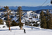 Ski slope and chairlift at ski area Squaw Valley near Lake Tahoe, North California, USA, America
