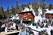 People at Apres Ski, ski area Heavenly at the southern Lake Tahoe, North California, USA, America