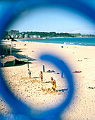 People exercising on the beach at a Beachclub, Main beach at Santander, Playa de Sardinero, Santander, Cantabria, Spain