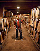 Vintner in the wine cellar, Bodega Dominio de Atauta, Castile and León, Spain