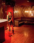 Cleaning lady in Disco Oasis Club Teatro, Saragossa, Aragon, Spain