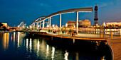 Footbridge in the evening,Port Vell,Rambla de Mar,Barcelona,Catalonia,Spain