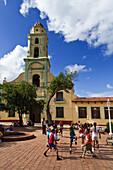 School class sports, Bell tower of Iglesia y Convento de San Francisco, Trinidad, Cuba, Greater Antilles, Antilles, Carribean, West Indies, Central America, North America, America