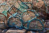 Hummerfallen am alten Hafen von Portsoy, Aberdeenshire, Schottland