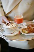 Italian breakfast with cappuccino, croissant and orange juice, Breakfast, Italy