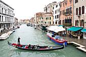 Canal with gondola, Cannaregio quarter, Venice, Veneto, Italy