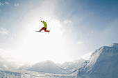 Skier jumping, Andermatt, Canton of Uri, Switzerland