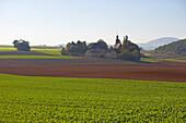 Pilgrims' chapel Fraukirch near Thür, Agriculture, Field, Pellenz, Eifel, Rhineland-Palatinate, Germany, Europe