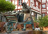 Alter Markt (Old Market) with well, Northern part of Eifel, Euskirchen, North Rhine-Westphalia, Germany, Europe