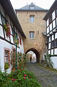 City gate Hirtentor, Eifelhaus, Half-timbered house, Blankenheim, Eifel, North Rhine-Westfalia, Germany, Europe