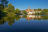 Ulmen with Ulmener Maar, Reflexion, Eifel, Rhineland-Palatinate, Germany, Europe